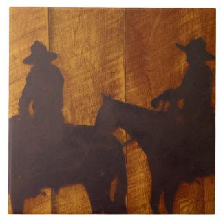 USA, Montana, Boulder River Cowboys on horses Ceramic Tile