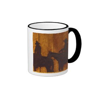 USA, Montana, Boulder River Cowboys on horses Ringer Coffee Mug