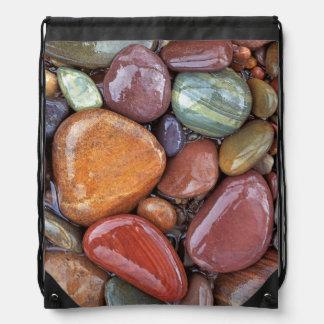 USA, Montana, Clark Fork River, Stones 2 Drawstring Backpack