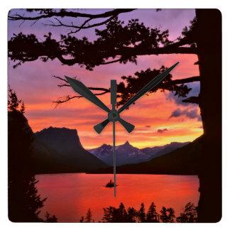 USA, Montana, Glacier National Park. Landscape Square Wall Clock