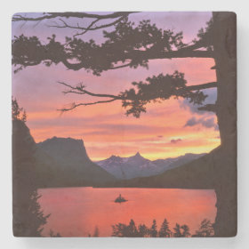 USA, Montana, Glacier National Park. Landscape Stone Beverage Coaster