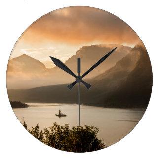 USA, Montana, Glacier National Park. Sunrise Large Clock