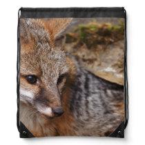 USA, Montana, Kalispell. Gray fox at Triple D Drawstring Bag