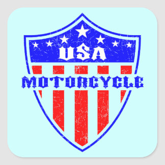 USA Motorcycle Square Sticker