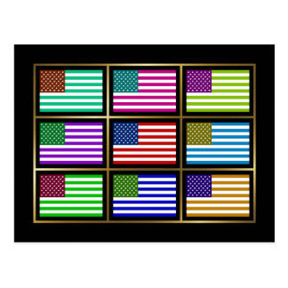 USA Multihue Flags Postcard
