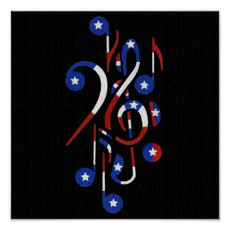 USA Musical Notes Poster