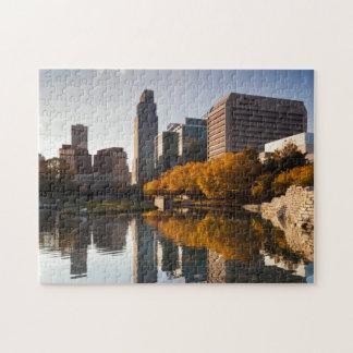 USA, Nebraska, Omaha, Gene Leahy Mall, Skyline Jigsaw Puzzle