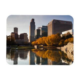 USA, Nebraska, Omaha, Gene Leahy Mall, Skyline Magnet