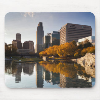 USA, Nebraska, Omaha, Gene Leahy Mall, Skyline Mouse Pad