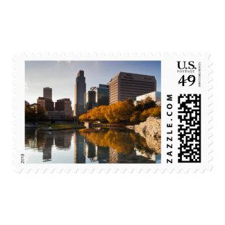USA, Nebraska, Omaha, Gene Leahy Mall, Skyline Postage Stamp