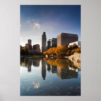 USA, Nebraska, Omaha, Gene Leahy Mall, Skyline Poster