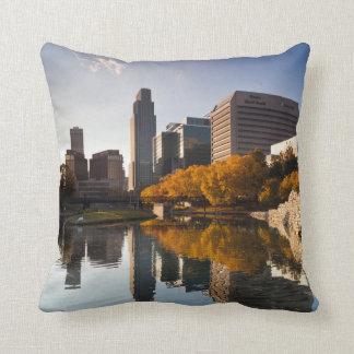 USA, Nebraska, Omaha, Gene Leahy Mall, Skyline Throw Pillow