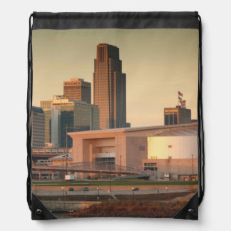 USA, Nebraska, Omaha, Skyline Drawstring Bag