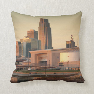 USA, Nebraska, Omaha, Skyline Throw Pillow
