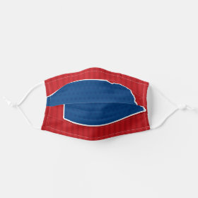 USA Nebraska State Stars and Stripes Map Cloth Face Mask