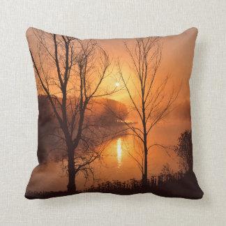 USA, New England, Maine. Autumn Sunrise Throw Pillow