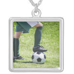 USA, New Jersey, Jersey City, Close up of girl's Square Pendant Necklace