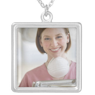 USA, New Jersey, Jersey City, dental assistant Silver Plated Necklace