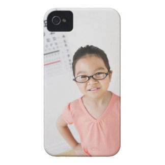USA, New Jersey, Jersey City, Girl (6-7) at eye iPhone 4 Case