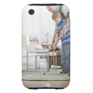 USA, New Jersey, Jersey City, grandfather and iPhone 3 Tough Cover