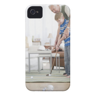 USA, New Jersey, Jersey City, grandfather and iPhone 4 Case-Mate Cases