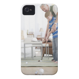 USA, New Jersey, Jersey City, grandfather and iPhone 4 Case