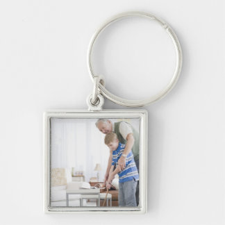 USA, New Jersey, Jersey City, grandfather and Silver-Colored Square Keychain