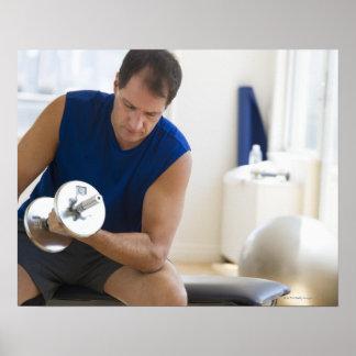 USA, New Jersey, Jersey City, Mature man lifting Poster