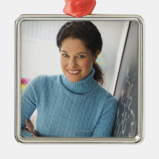 USA, New Jersey, Jersey City, Mature woman Square Metal Christmas Ornament