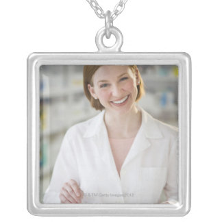 USA, New Jersey, Jersey City, pharmacist 2 Silver Plated Necklace