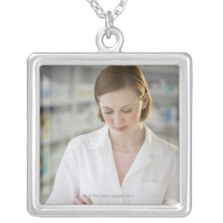 USA, New Jersey, Jersey City, pharmacist Silver Plated Necklace