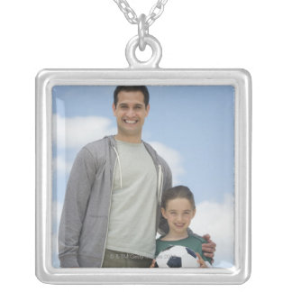 USA, New Jersey, Jersey City, portrait of father Silver Plated Necklace