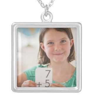 USA, New Jersey, Jersey City, Portrait of girl Silver Plated Necklace
