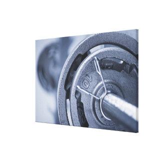 USA, New Jersey, Jersey City, Ten kilos weights Canvas Print
