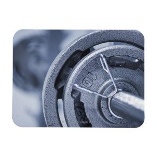 USA, New Jersey, Jersey City, Ten kilos weights Rectangle Magnet