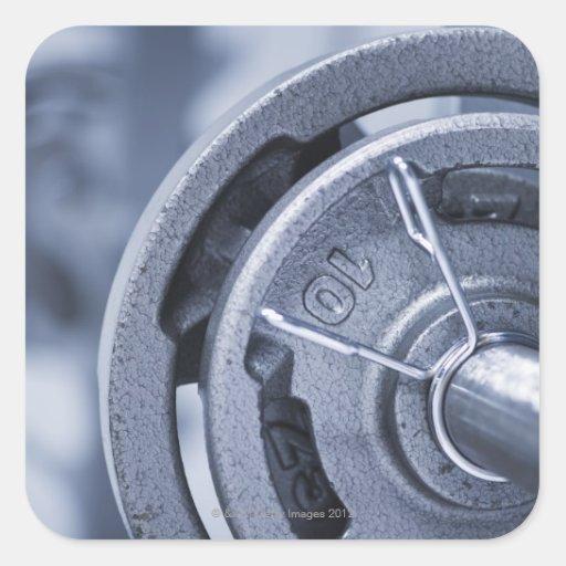 USA, New Jersey, Jersey City, Ten kilos weights Square Sticker