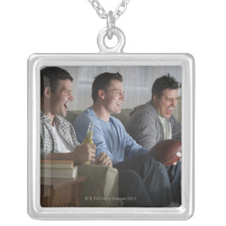 USA, New Jersey, Jersey City, three men watching 2 Silver Plated Necklace