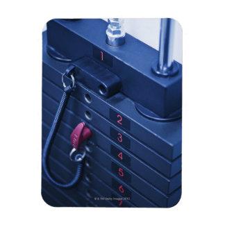 USA, New Jersey, Jersey City, Weights on Rectangular Photo Magnet