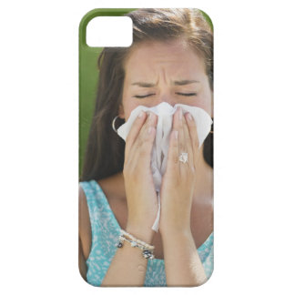 USA, New Jersey, Jersey City, Woman blowing nose iPhone 5 Cases