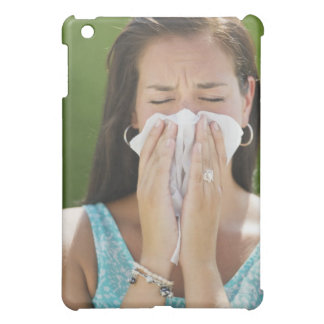 USA, New Jersey, Jersey City, Woman blowing nose iPad Mini Covers