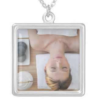USA, New Jersey, Jersey City, Woman relaxing at Custom Necklace