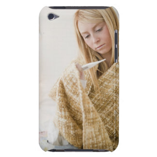 USA, New Jersey, Jersey City, woman wrapped in iPod Case-Mate Case