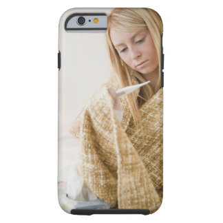 USA, New Jersey, Jersey City, woman wrapped in Tough iPhone 6 Case