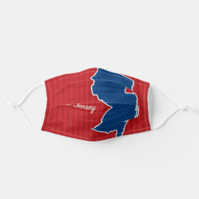 USA New Jersey State Stars and Stripes Map Cloth Face Mask