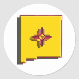 USA: New Mexico (3d) Classic Round Sticker