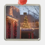 USA, New Mexico, Santa Fe: Canyon Road Gallery Square Metal Christmas Ornament