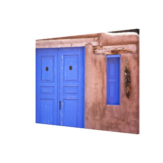 USA, New Mexico, Santa Fe. View of blue door and Canvas Print