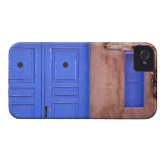 USA, New Mexico, Santa Fe. View of blue door and iPhone 4 Case