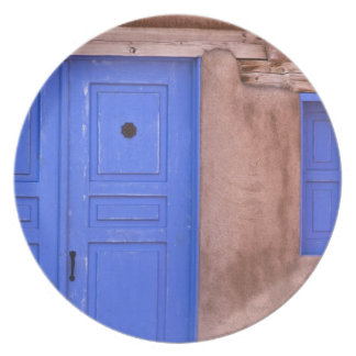 USA, New Mexico, Santa Fe. View of blue door and Dinner Plate