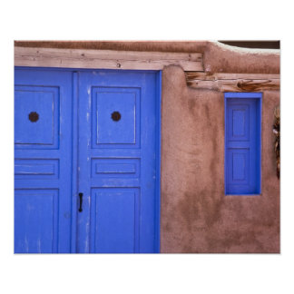 USA, New Mexico, Santa Fe. View of blue door and Poster